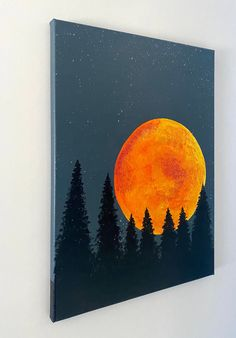 Excited to share this item from my shop: Original fire moon over the pine trees acrylic painting Love Canvas Painting, Black Canvas Paintings, Fire Painting, Acrilic Paintings, Easy Canvas Art, Canvas Painting Tutorials, Small Canvas Art, Mini Canvas Art, Cute Paintings