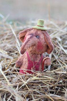 Слоник Тоб - авторская игрушка, игрушка ручной работы, слоник тедди