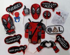 Super Hero Party Deadpool Inspired Photo Booth props by weddingphotobooth on Etsy https://www.etsy.com/listing/301277159/super-hero-party-deadpool-inspired-photo