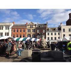 A far away view of this eclectic Saturday market in Cambridge UK selling everything imaginable.