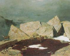 Arnold Böcklin -High mountains with chamoises, 1849