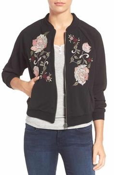 Wit & Wisdom Floral Embroidered Bomber Jacket (Nordstrom Exclusive)