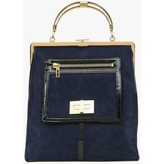 "Balmain ""The day"" velvet leather and metal tote bag (3,900 CAD) ❤ liked on Polyvore featuring bags, handbags, tote bags, navy blue, genuine leather tote, navy blue tote bag, leather tote bags, navy leather handbag and leather handbags"