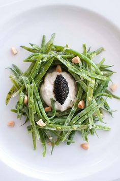 Petrossian's green bean salad with buratta, slivered almonds and caviar Green Bean Salads, Green Beans, Salad Plates, Restaurant Design, Caviar, Crisp, Cravings, Food Porn, Jewel Box