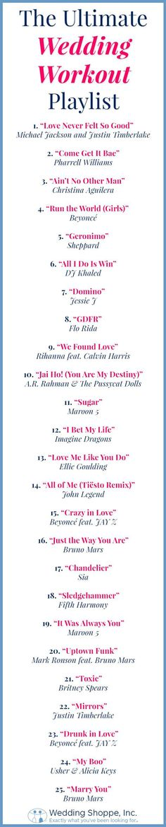 25-song wedding workout playlist you need to have! Start sweating for the wedding!