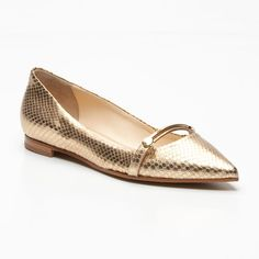 Fabi Leather Ballet Flats in Gold