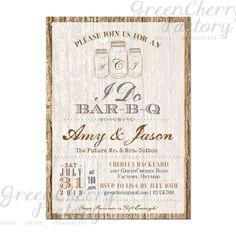 Couple Shower BBQ Invitation - I Do Barbeque Invite - Mason Jars - Initials - Tree Backyard Rustic - Typography - Printable - No.563 on Etsy, $18.00