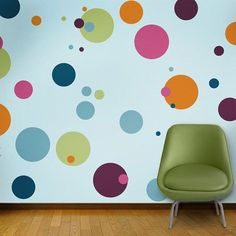 Create a polka dot room in minutes for your baby nursery or kids room. My Wonderful Walls' polka dot stencils adhere to your walls without any additional adhesives. Polka Dot Room, Polka Dot Walls, Polka Dots, Stencils For Kids, Decoration Creche, Ideas Habitaciones, Kids Room Paint, Kids Rooms, Wall Decor