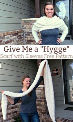 This scarf is long. It is wide. It is plush, cozy, and warm. IT HAS SLEEVES! I named it Give me a Hygge because of the way you pronounce the yarn: Hoo-gah via This scarf is long. It is wide. It is plush, cozy, and warm. IT HAS SLEEVES! I named it Crochet Scarves, Crochet Shawl, Crochet Yarn, Crochet Clothes, Crochet Shrugs, Crochet Sweaters, Chrochet, Sewing Clothes, Crochet Poncho With Sleeves