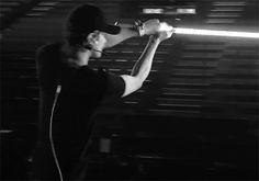 Sehun practicing with his lightsaber (2/3)