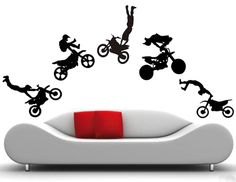 Motorcycle Jump Wall Decals  (Boys Room, Motorbike, Removable Stickers)