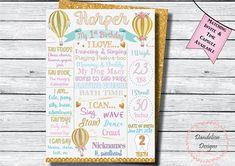 Hot Air Balloon chalkboard Hot Air Balloon birthday Poster Display, Chalkboard Poster, Little Girl Birthday, Birthday Chalkboard, Time Capsule, Birthday Balloons, Hot Air Balloon, Birthday Invitations, First Birthdays