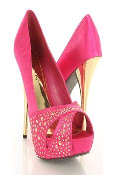 Fuchsia Satin Upper Cross Vamp Rhinestone Embellishment Pump Heels Shoes $33.99