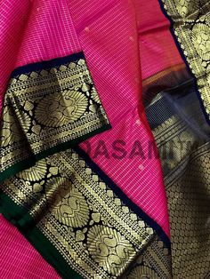 Online shopping from a great selection at Clothing & Accessories Store. Kanjivaram Sarees Silk, Blue Silk Saree, Kanchipuram Saree, Soft Silk Sarees, Pink Saree, Indian Bridal Sarees, Wedding Silk Saree, Lakshmi Sarees, Saree Jewellery