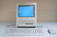 This is what my first Apple computer looked like, the Macintosh SE.  Released at the same time as the Mac II, (March, 1987). It came in a new platinum case. (that must have been what was inside because the ouside was hard, homely, durable plastic.)  It sold for around three thousand dollars.  Wow.