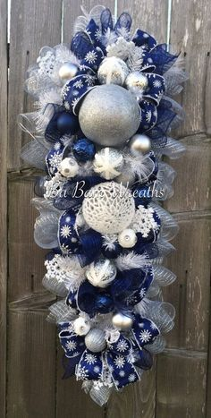 Blue White Christmas Stunning Blue Christmas by BaBamWreaths Christmas Door Hangings, Silver Christmas Decorations, Silver Christmas Tree, Christmas Mesh Wreaths, Christmas Swags, Christmas Centerpieces, White Christmas, Christmas Crafts, Christmas Ornaments