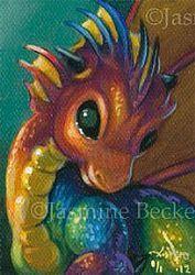Art: Miniature Rainbow Dragon ACEO by Artist Jasmine Ann Becket-Griffith