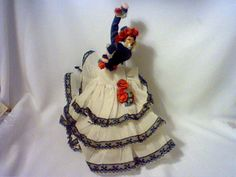 VINTAGE ROLDAN KLUMPE FELT DOLL SPANISH FEMALE FLAMENCO DANCER WHITE DRESS 10""