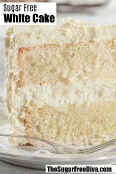 Sugar Free White Cake Recipe #sugarfree #recipe #diy #homemade #cake #wedding #recipe
