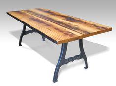 Urban farm table with industrial machine legs by oldegoodthings on Etsy https://www.etsy.com/listing/154647927/urban-farm-table-with-industrial-machine