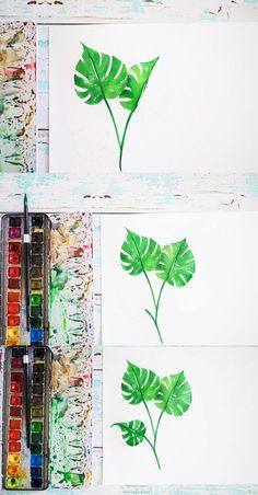 Watercolor tropical leaf tutorial- Inkstruck Studio for Dawn Nicole Designs Source by hisarahm Watercolor Design, Watercolor Illustration, Types Of Pencils, Dawn Nicole, Leaf Drawing, Watercolor Leaves, Watercolour Painting, Hawaiian Flowers, Painted Leaves