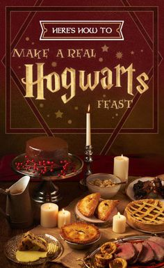 """Check our very own guide to creating a Hogwart's-style feast, including recipes for pumpkin pasties, treacle tarts, roast beef with Yorkshire pudding and (of course) Butterbeer. 34 Magical Ideas For The Ultimate """"Harry Potter"""" Party Harry Potter Navidad, Harry Potter Weihnachten, Harry Potter Fiesta, Cumpleaños Harry Potter, Mundo Harry Potter, Harry Potter Wedding, Harry Potter Parties, Harry Potter Desserts, Harry Potter Theme Food"""