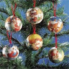 """Colorful paper decorated ornaments. Colorful paper decorated ornaments with an old fashioned feel. Red cord loop. 2 7/8"""" diameter.. Price: $6.38"""
