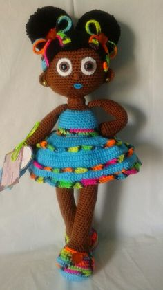 Crochet Doll; African American girl with afro puffs and colorful crochet ribbon style hair bows!