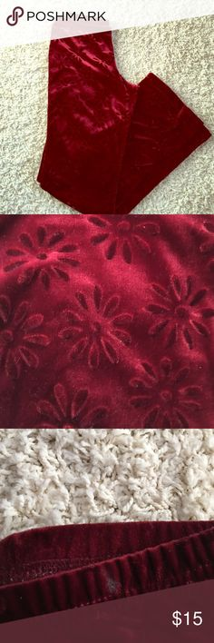 Soft velvet 60's style pant Burgundy in color with flower print on pants!! LOVE THESE PANTS! There is a small mark on the upper left I believe. Please see picture! Legs a tad wide at bottom Possessed Pants Boot Cut & Flare