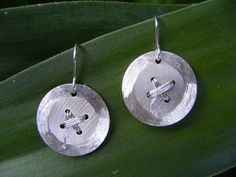 Cute as a Button Sterling Silver Earrings by ButteryJewellery on Etsy Sterling Silver Earrings, Washer Necklace, Jewellery, Button, Trending Outfits, Unique Jewelry, Handmade Gifts, Cute, Etsy