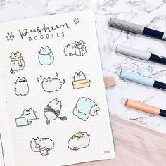 Pusheen doodles by Bullet Journal 2019, Bullet Journal Notebook, Bullet Journal Inspiration, Cat Doodle, Doodle Drawings, Easy Drawings, How To Doodle, Doodle Art Journals, Bullet Journal Aesthetic
