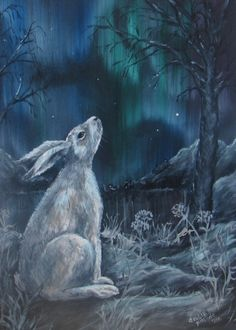 Mountain Hare and Northern Lights OK, so no moon in this painting, but it seemed to fit with the theme of this board anyway! FOR SALE Original Painting, Acrylic on board, A3 size  £125 incl p&p