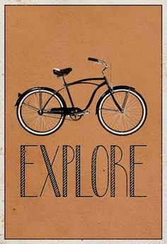 Explore Retro Bicycle Player Art Poster Print Plakat