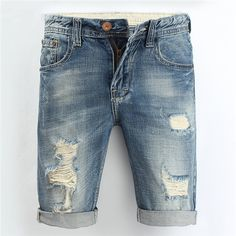 Summer Overknee Stylish Worn Hole Jeans Washed Denim Shorts For Men ($32) ❤ liked on Polyvore featuring men's fashion, men's clothing, men's jeans, mens blue jeans and mens flap pocket jeans