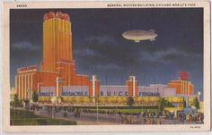 """1933 Chicago World's Fair Postcard """"General Motors Building"""" w/ Blimp - Linen"""