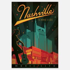 Americanflat Nashville Broadway, Music City Vintage Advertisement on Gallery Wrapped Canvas Size: Nashville Broadway, Music City Nashville, Nashville Tennessee, Nashville Restaurants, Tennessee Usa, Nashville Vacation, Visit Nashville, Nashville Skyline, Photo Vintage