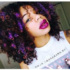 Afro Kinky Curly Hair Hairstyle Purple Orange Highlights Dip Dye Ombre Pretty Girl Swag Dope Beautiful SensualSierra