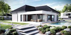 Projekt domu parterowego HomeKoncept-32 o pow. 123,52 m2 z garażem 1-st., z dachem wielospadowym, z tarasem, sprawdź! Modern Family House, Modern House Plans, Small House Plans, Bungalow House Design, Small House Design, Modern House Design, Morden House, Beautiful House Plans, Dream House Exterior