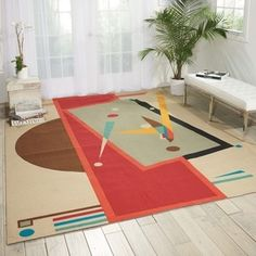 Modern Art Sand/ Multi Polyester Rug | Overstock.com Shopping - The Best Deals on 3x5 - 4x6 Rugs