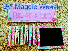 Save money by making your own DIY locker decor! Use magnets, colorful paper (I used some Lilly Pulitzer designs), chalkboard paint (see other pins: reg paint and baking soda), and wooden clothes pins to make YOUR locker your OWN locker! Have fun:)  -Maggie Weaver