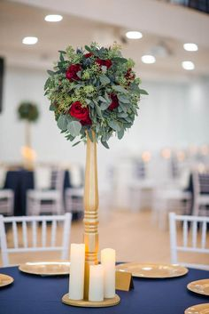Navy and Gold Wedding Decor. Tall Eucalyptus Centerpiece with Red Roses and Blue Thistle. Beveridge Landmark Event Medicine Hat AB.