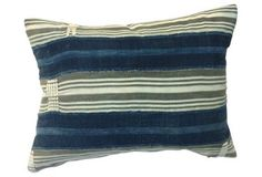 Custom pillow made from vintage handwoven and hand-sewn panels of natural linen/cotton striped tribal African textile in various shades of faded indigo and gray. Tribal African, Bohemian Bedding, Striped Bedding, Rustic Elegance, Natural Linen, One Kings Lane, Custom Pillows, Grey Stripes, Luxury Bedding