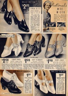 1930s Fashion: Spring and Summer 1937 National Bellas Hess Catalog showcasing womens shoes. #1930s #1930sfashion #womenshoes #shoes #summer #spring #catalog #vintagecatlog #1930sshoes