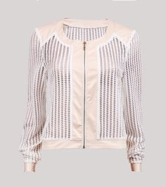 Soft Pink Jacket With Mesh Detail