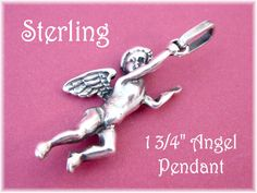 "Sterling Silver 950 - Guardian Angel 1 3/4"" Pendant - Flying Heavenly Angel Wings - Cupid Valentines Day - The Perfect Gift - FREE SHIPPING by FindMeTreasures on Etsy"