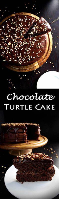 Chocolate Turtle Cake | Chocolate Caramel Cake | Turtle Pecans | Chocolate Buttercream | Ganache | Fancy | Easy | Dessert