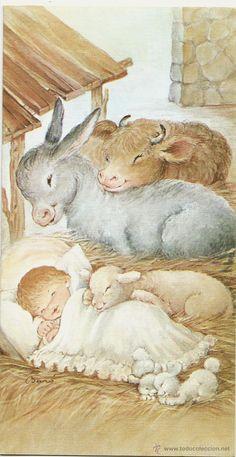 Postal Niño Jesús animales establo Ilus.Nuria Baró