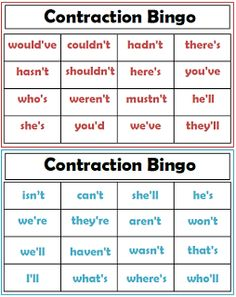 Teacher's Take-Out: Contraction Bingo Game- Freebie! Teaching Language Arts, Classroom Language, Teaching Writing, Student Teaching, Teaching Ideas, Teaching Grammar, 2nd Grade Ela, 2nd Grade Writing, First Grade Reading