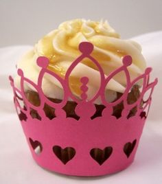 Princess crown cupcake wrapper made with the Pazzles Inspiration® electronic cutter