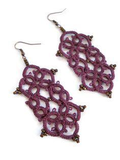Merlot arabesque tatted earrings//handmade /lace earrings